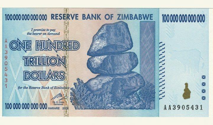 100 trilhões de dólares do Zimbábue