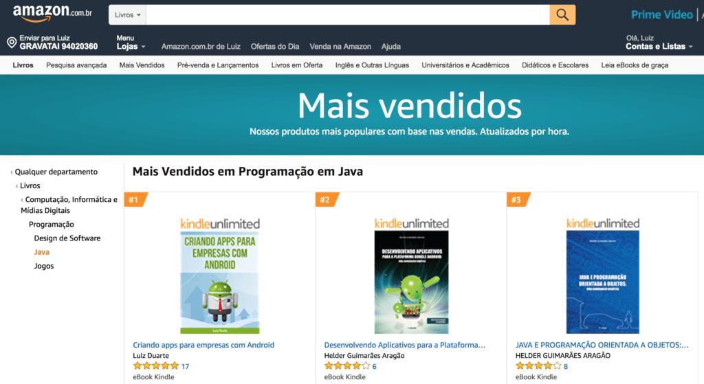 Mais vendidos na categoria Java - Amazon