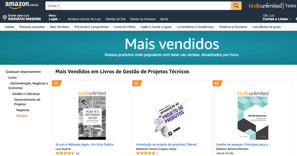 Mais Vendidos em Gerenciamento de Projetos - Amazon