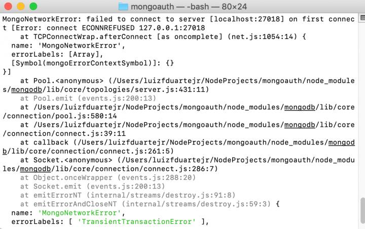 Erro de conexão no Mongo